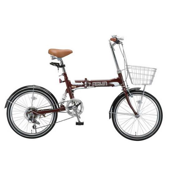 ARUN จักรยานพับได้ นำเข้าจากญี่ปุ่น รุ่น MSB 206 AS (สีน้ำตาล)