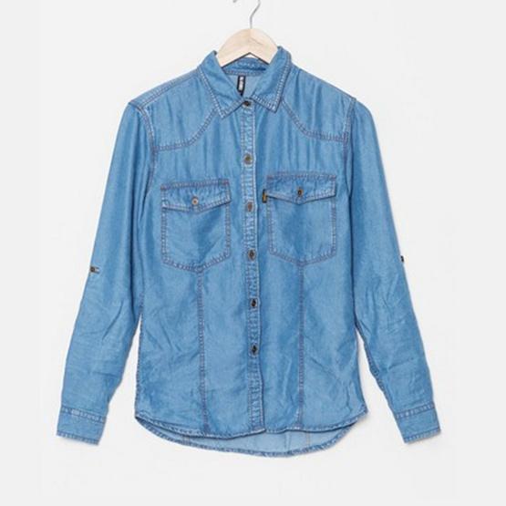 BJ Jeans เสื้อเชิ้ตแขนยาว Double-stitched Denim