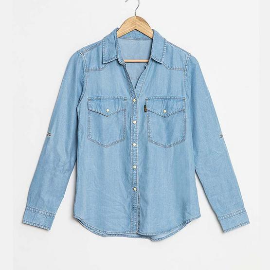 BJ Jeans เสื้อเชิ้ตแขนยาว Snap-button Light-washed Denim