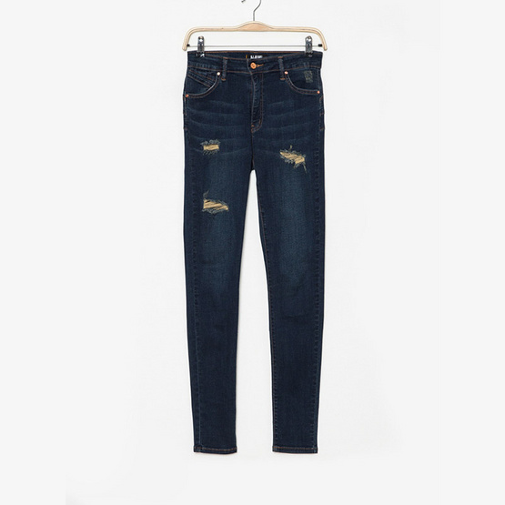 BJ Jeans กางเกงยีนส์ Washed Out Ripped High-rise Slim-fit