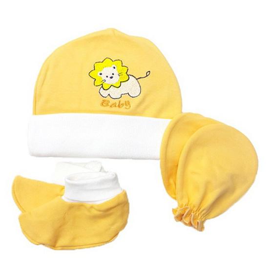 B&B Kids เซ็ต 3 ชิ้น หมวก-ถุงมือ-ถุงเท้า ลายสิงโตปัก สีเหลือง