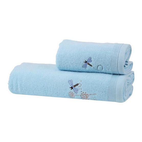 Behome ชุดผ้าขนหนูปักลายแมลงปอ สีฟ้า (Blue) image