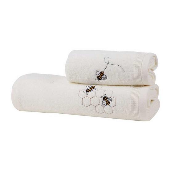 Behome ชุดผ้าขนหนูปักลายผึ้ง สีครีม (Cream)