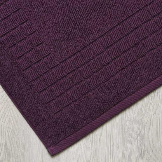 Behome ผ้าเช็ดเท้าลาย Cube สีม่วง (Plum)