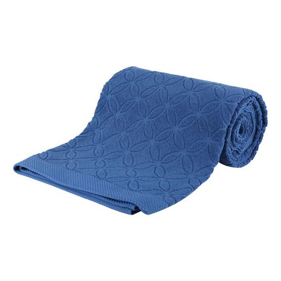 Behome ผ้าห่มขนหนูลาย Floral สีน้ำเงิน (Indigo)