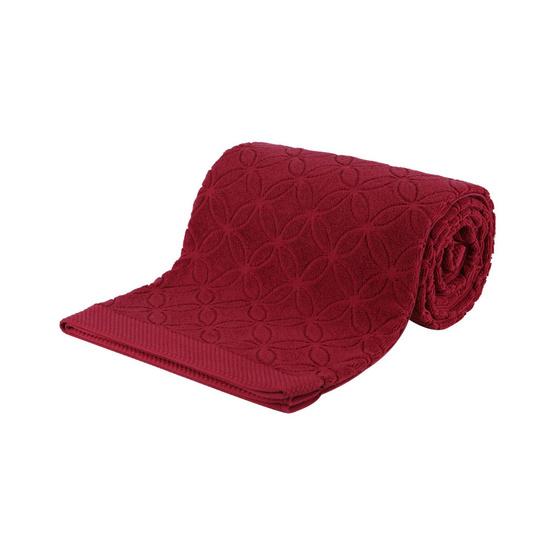 Behome ผ้าห่มขนหนูลาย Floral สีแดง (Mandarin)