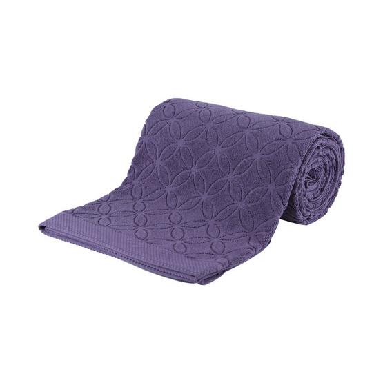 Behome ผ้าห่มขนหนูลาย Floral สีม่วง (Purple Ash)