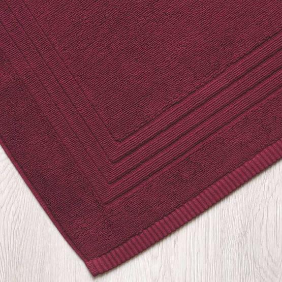 Behome ผ้าเช็ดเท้าลาย Frame  สีแดง (Cherry)