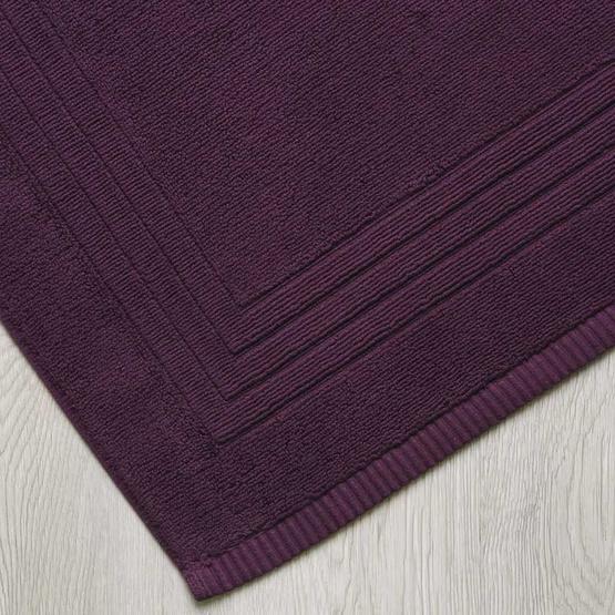 Behome ผ้าเช็ดเท้าลาย Frame สีม่วง (Plum)