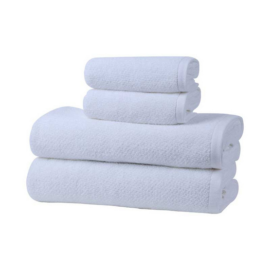 Behome ชุดผ้าขนหนูรุ่นคลาสสิค JQ สีขาว (White)