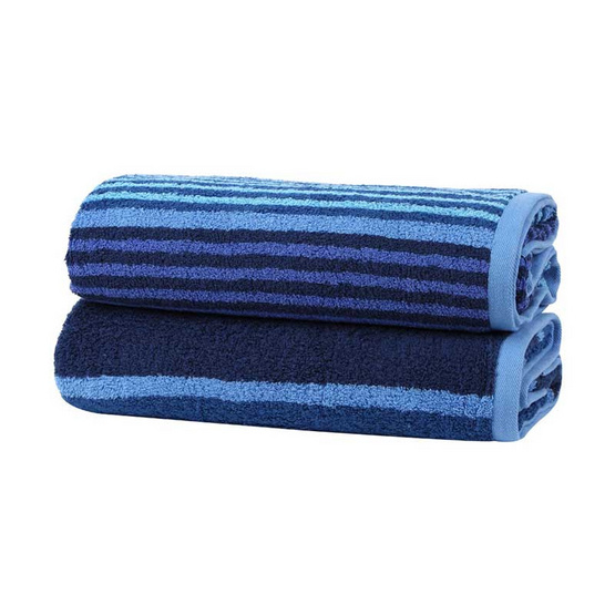Behome ผ้าขนหนูรุ่น Stripes สีน้ำเงิน (Blue)