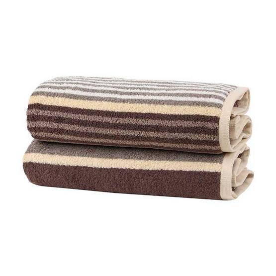 Behome ผ้าขนหนูรุ่น Stripes สีน้ำตาล (Brown)