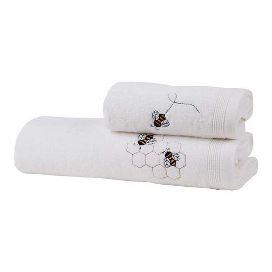 Behome ชุดผ้าขนหนูปักลายผึ้ง สีขาว (White)