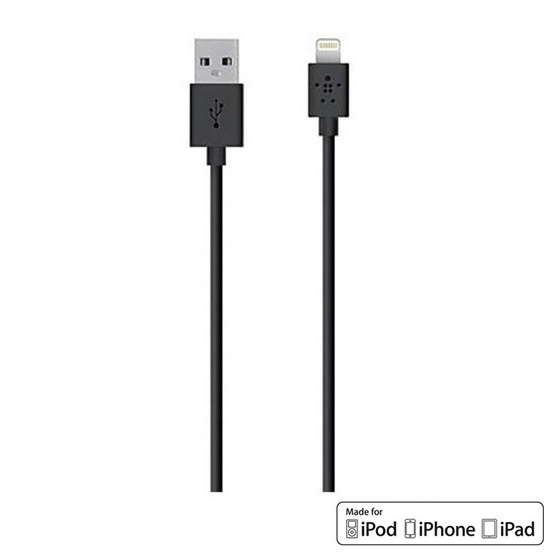 Belkin สาย Cable รุ่น Lightning Sync and Charge 2.4 Amp Cable 1.2 Meter/4 Feet Black