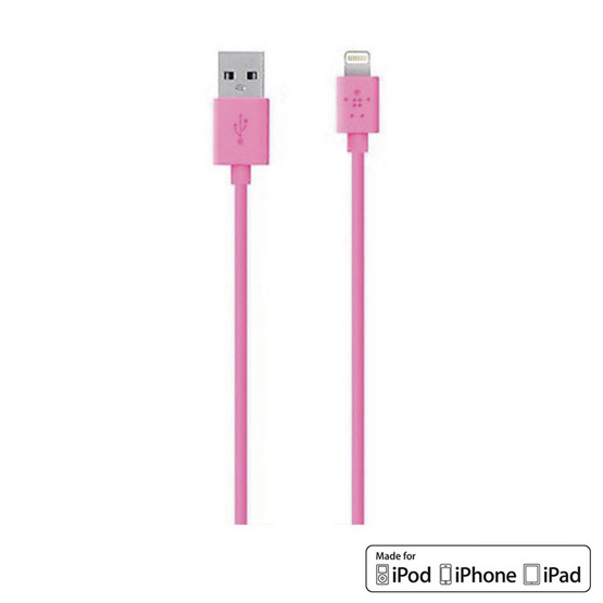 Belkin สาย Cable รุ่น Lightning Sync and Charge 2.4 Amp Cable 1.2 Meter/4 Feet Pink