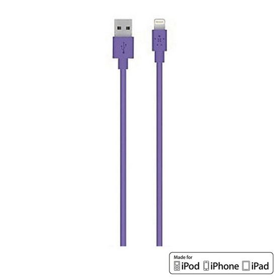 Belkin สาย Cable รุ่น Lightning Sync and Charge 2.4 Amp Cable 1.2 Meter/4 Feet Purple