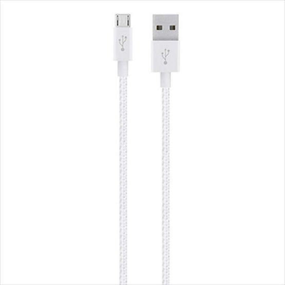 Belkin สาย Cable รุ่น Metallic Micro-USB Sync and Charge Braided Cable 1.2 Meter White