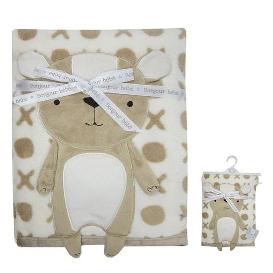 Bonjour bebe ผ้าห่มพิมพ์ลายxo ลายหน้าสัตว์ หมีสีน้ำตาล