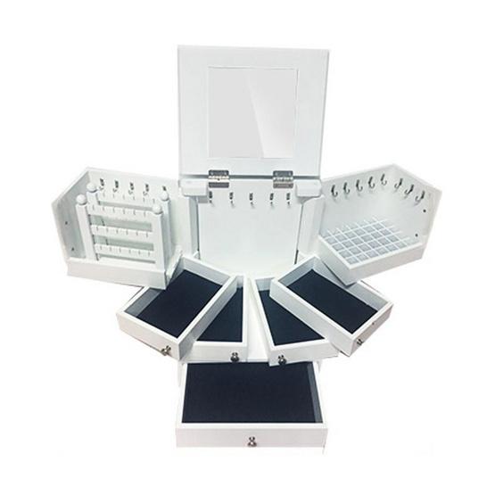 Box Lover กล่องลิ้นชักไม้ใส่เครื่องประดับและเครื่องสำอางสีขาวขนาดกลาง