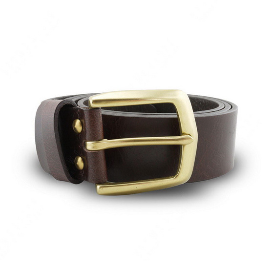 Brown Stone เข็มขัดหนังแท้รุ่น  Milano Dark Brown Belt Solid Brass Arrow Buckle