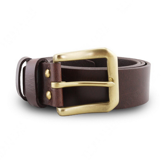 Brown Stone เข็มขัดหนังแท้รุ่น  Milano Dark Brown Belt Solid Brass PAM Buckle
