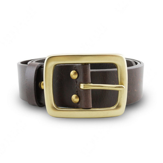 Brown Stone เข็มขัดหนังแท้รุ่น  Milano Dark Brown Belt Solid Brass Rectangle Buckle