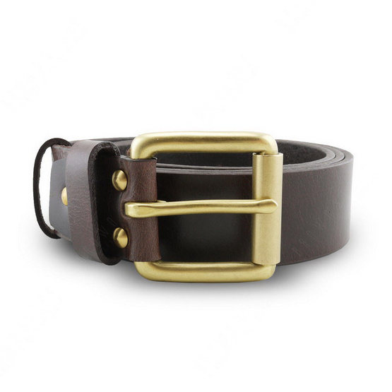 Brown Stone เข็มขัดหนังแท้รุ่น  Milano Dark Brown Belt Solid Brass Roller Buckle