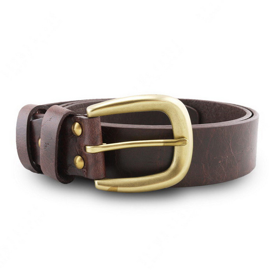 Brown Stone เข็มขัดหนังแท้รุ่น  Milano Dark Brown Narrow Belt Solid Brass Horseshoe Buckle