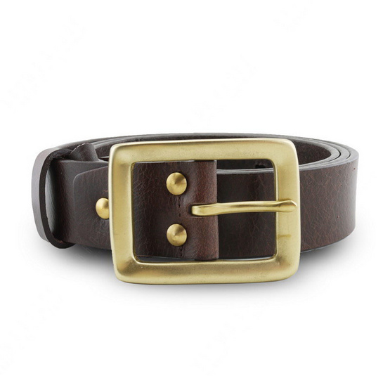 Brown Stone เข็มขัดหนังแท้รุ่น  Milano Dark Brown Narrow Belt Solid Brass Rectangle Buckle