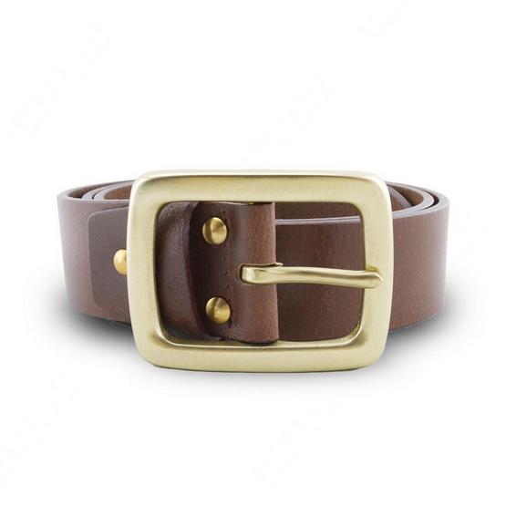 Brown Stone เข็มขัดหนังแท้รุ่น  Milano Tan Belt Solid Brass Rectangle Buckle