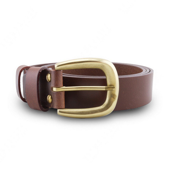 Brown Stone เข็มขัดหนังแท้รุ่น  Milano Tan Narrow Belt Solid Brass Horseshoe Buckle