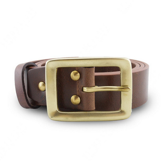 Brown Stone เข็มขัดหนังแท้รุ่น  Milano Tan Narrow Belt Solid Brass Rectangle Buckle