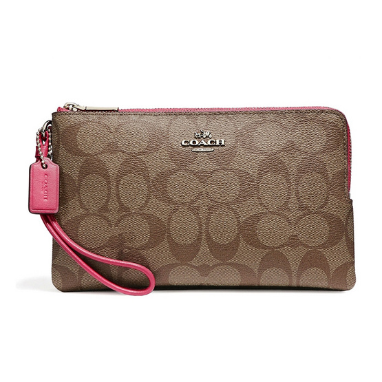 COACH กระเป๋าคล้องมือสองซิป F16109 Double Zip Wallet in Signature Coated Canvas