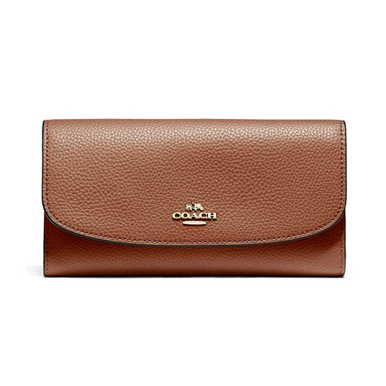 COACH กระเป๋าสตางค์ F16613 Checkbook Wallet in Polished Pebble Leather