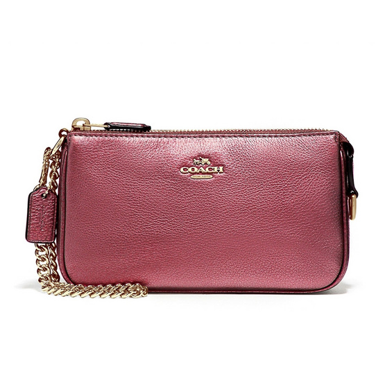 COACH กระเป๋าคล้องมือ F20151 Large Wristlet 19 in Metallic Pebble Leather