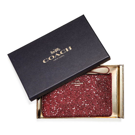 COACH กระเป๋าคล้องมือ F22705 Boxed Small Wristlet with Glitter Star Print