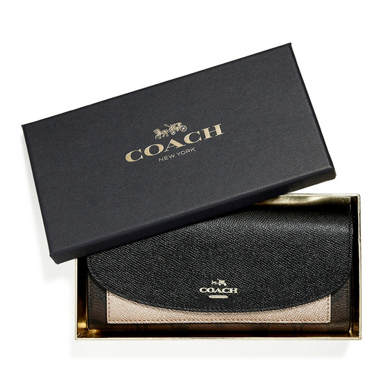 COACH กระเป๋าสตางค์ F22714 Boxed Slim Envelope Wallet with Metallic Colorblock