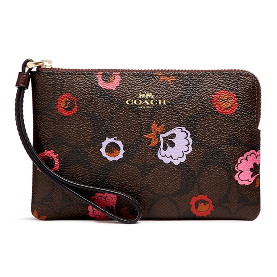 COACH กระเป๋าคล้องมือ F24380 Corner Zip Wristlet with Primrose Floral Signature Print