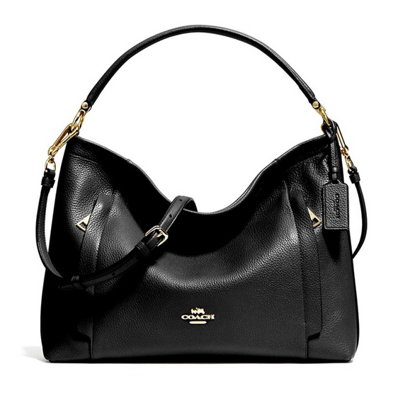 COACH กระเป๋าสะพาย รุ่น F34312 Scout Hobo in Polished Pebble Leather (LIBLK)