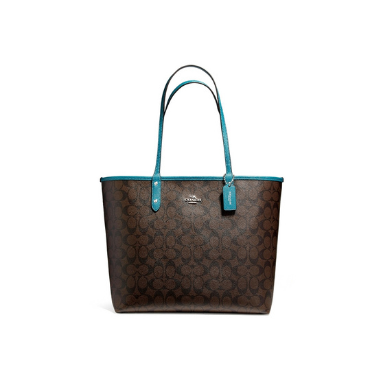COACH กระเป๋า F36658 REVERSIBLE CITY TOTE IN SIGNATURE COATED CANVAS