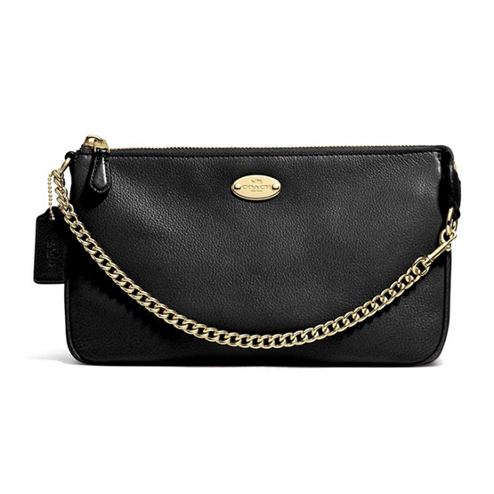 COACH กระเป๋าคล้องมือ F53340 Large Wristlet 19 in Pebble Leather