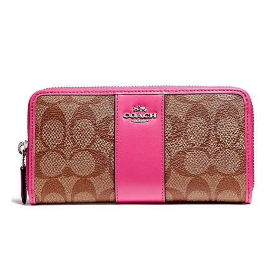 COACH กระเป๋าสตางค์ F54630 Accordion Zip Wallet in Signature Coated Canvas With Leather Stripe