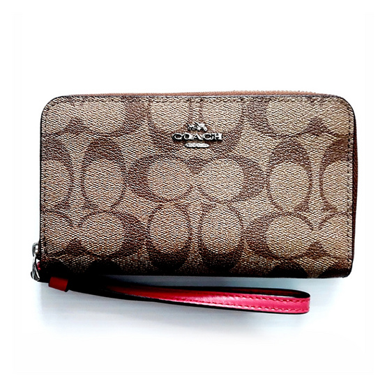COACH กระเป๋าคล้องมือใส่โทรศัพท์ F57468 Phone Wallet in Signature Coated Canvas