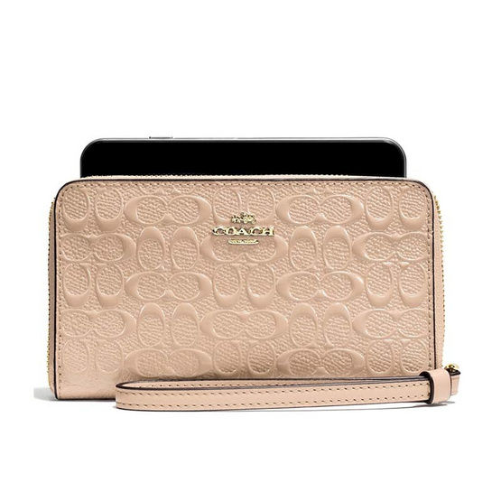 COACH กระเป๋าคล้องมือใส่โทรศัพท์ F57469 Phone Wallet in Signature Debossed Patent Lether