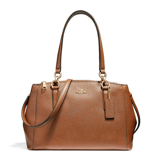 COACH กระเป๋าสะพาย F57520 Small Christie Carryall in Crossgrain Leather