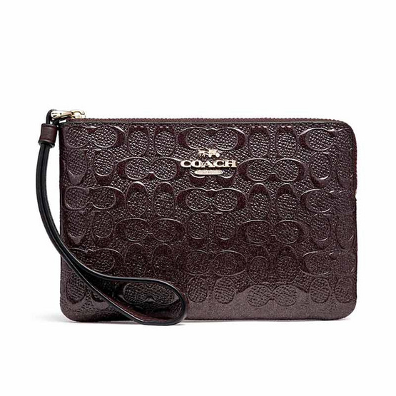 COACH กระเป๋าคล้องมือ F58034 Corner Zip Wristlet in Signature Debossed Patent Leather
