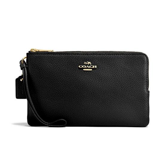 COACH กระเป๋าคล้องมือสองซิป F87587 Double Zip Wallet in Polished Pebble Leather