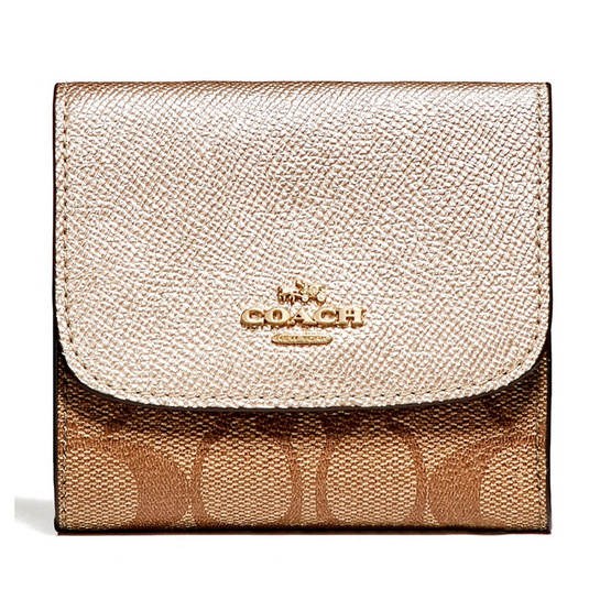 COACH กระเป๋าสตางค์ F87589 Small Wallet in Signature Coated Canvas