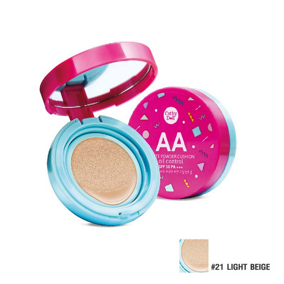 Cathy Doll AA Matte Powder Cushion Oil Control SPF50 PA+++ 15g. #21 Light Beige