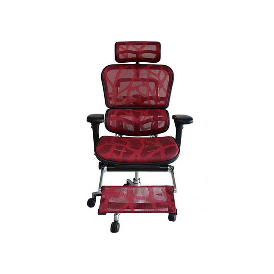 DF Prochair Ergonomic chair (Ergohuman Series) เก้าอี้สำนักงานเพื่อสุขภาพ มีทีรองศรีษะ พร้อมที่วางขาในตัว ตามหลักสรีศาสตร์ รุ่น EH-Plus สีแดง